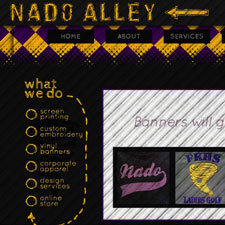 Nado Alley Screen Printing and Embroidery, Coffeyville, Kansas small business custom website design.