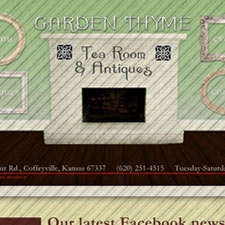Coffeyville, Kansas small business and church website design and management. Cold River Web Design. Garden Thyme Tea Room and Antiques.